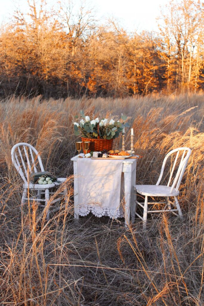 Small vintage table set for a romantic picnic