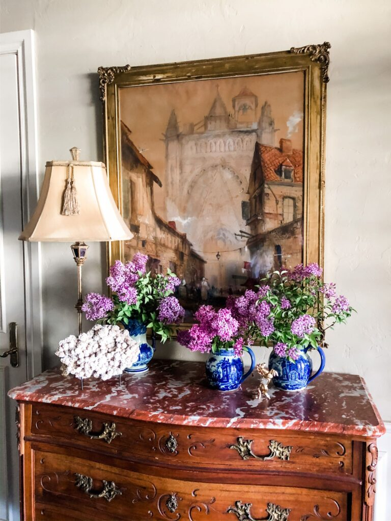 French chest with lilac bouquets