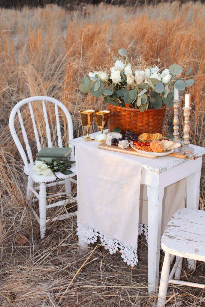 Vintage table set for a romantic picnic