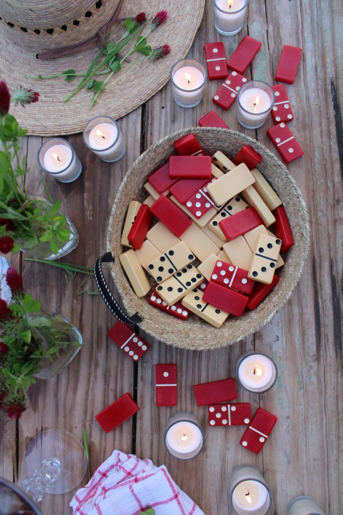 Vintage dominos and candles