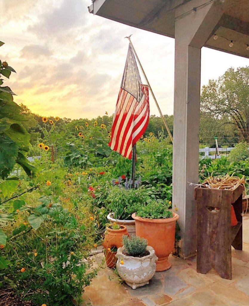 American Flag in the Garden