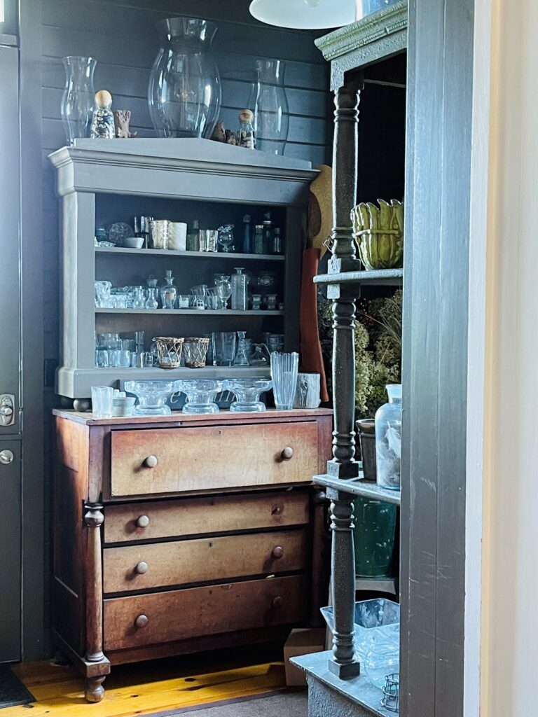 Vintage Chest and Glass Storage, one of the many beautiful details discovered during the home and garden tour.