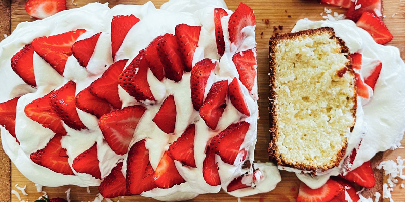 My Granny's Coconut Pound Cake with Strawberries and Whipped Cream